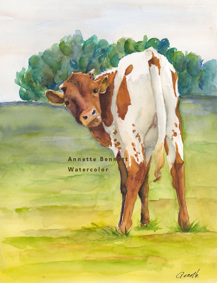 Longhorn calf art print of original cow painting, texas longhorn ...