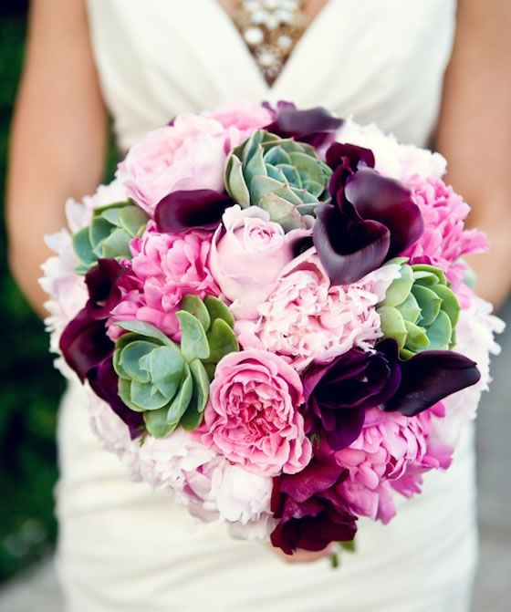 I love the mix of peonies, mini calla lilies and succulents in ...