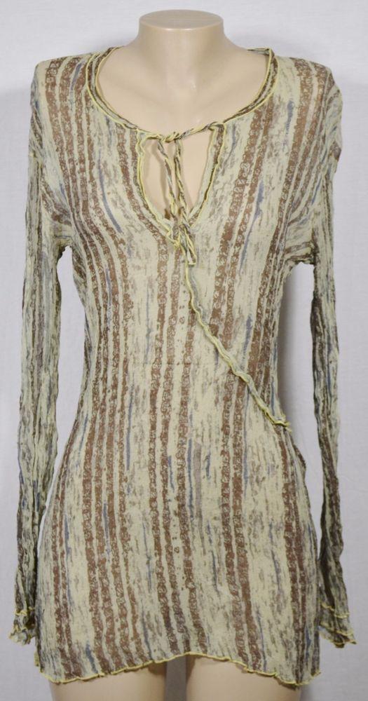 0c5fac67285 TRANSIT PAR-SUCH 254 Sheer Beige/Multicolor Silk Tunic 4 Made in Italy Long  Slvs…