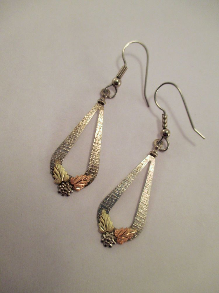 Vintage Black Hills Gold Dangle Earrings Sterling Silver 10k Leaves Unknown Wiredangleearrings