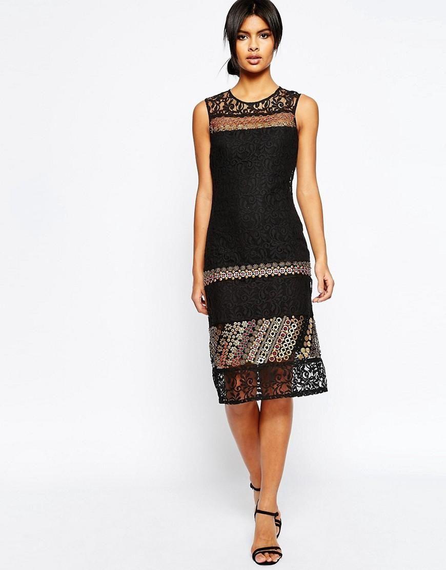 ASOS | Vestido de encaje de corte recto con adornos de ASOS en ASOS