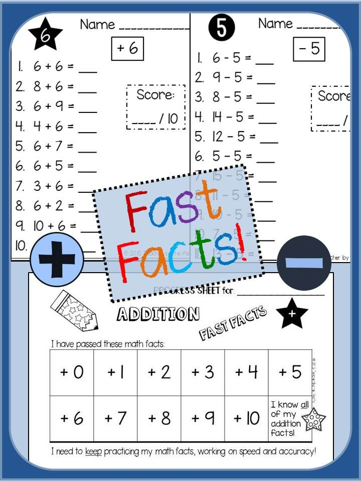 Math FAST FACTS: Addition and Subtraction Quizzes, Facts to 20 ...