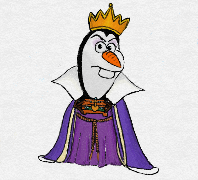 Olaf as the Evil Queen from Snow White by TortallMagic on DeviantArt