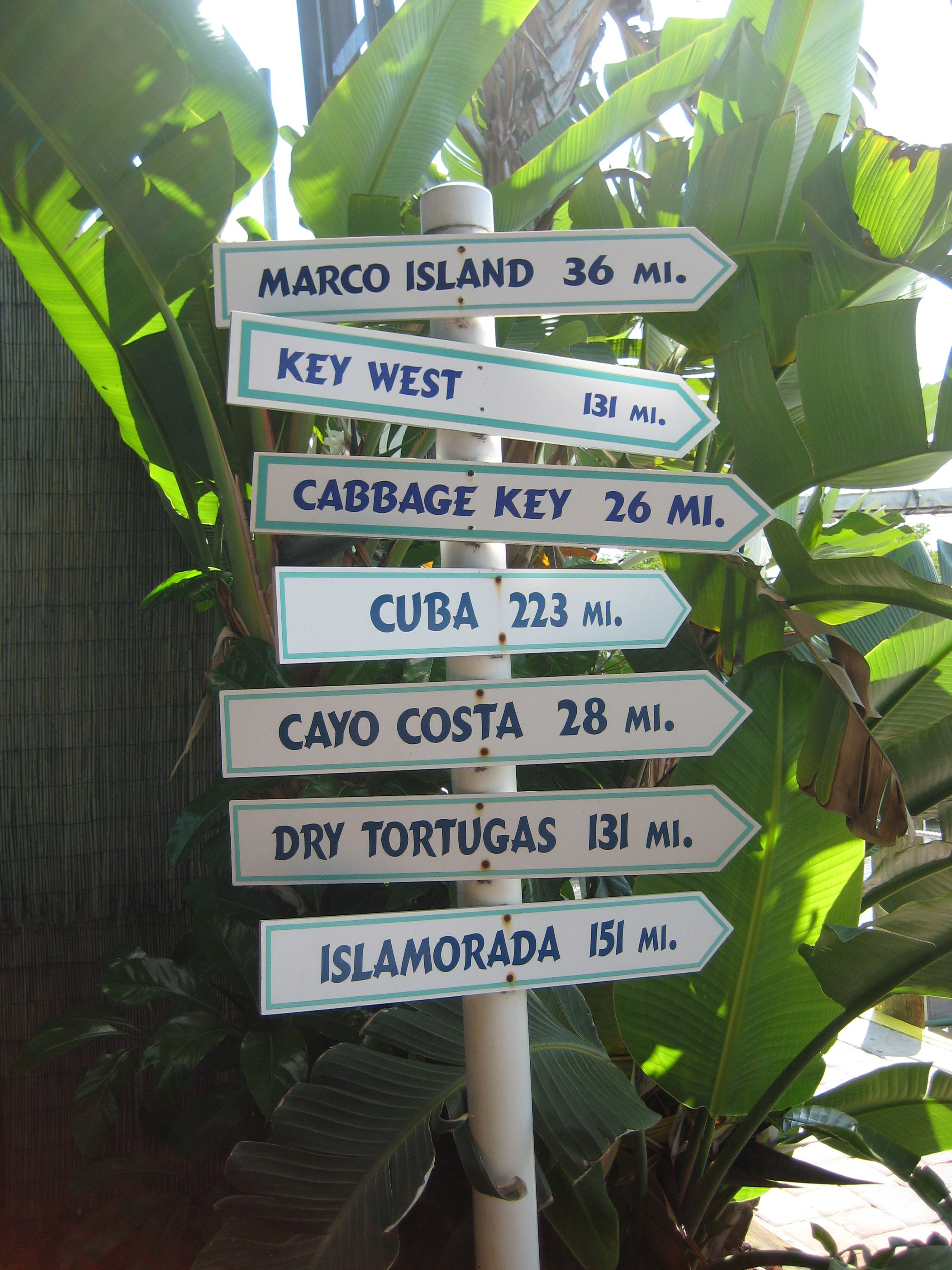 Are you lost? Sanibel island, Marco island, Dry tortugas