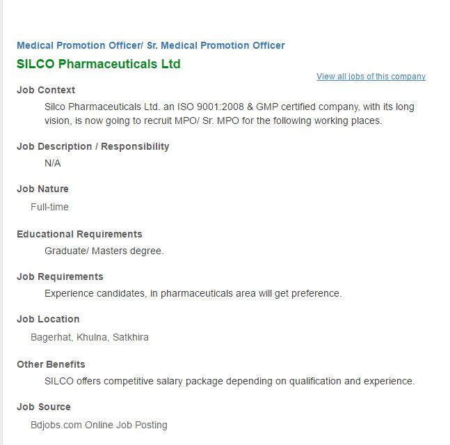 Silco Pharmaceuticals Ltd Medical Promotion Officer Job Circular