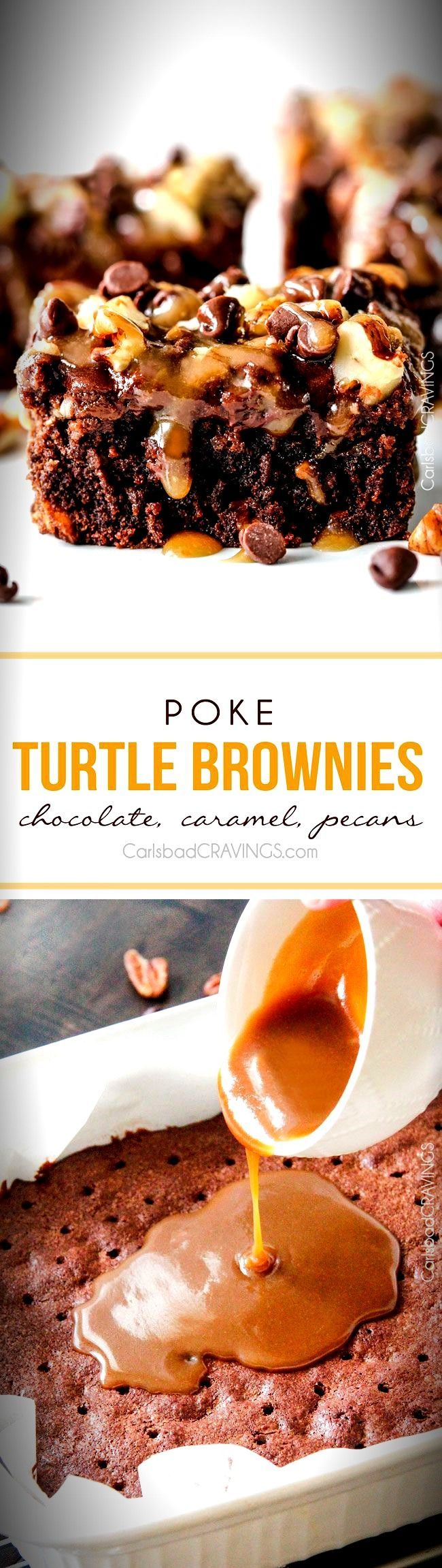Crazy moist Poke Turtle Brownies seeping with pockets of caramel, infused with pecans and chocolate chips, smothered in the BEST chocolate frosting and topped with more caramel. the best brownies EVER! #turtlebrownies Crazy moist Poke Turtle Brownies seeping with pockets of caramel, infused with pecans and chocolate chips, smothered in the BEST chocolate frosting and topped with more caramel. the best brownies EVER! #turtlebrownies