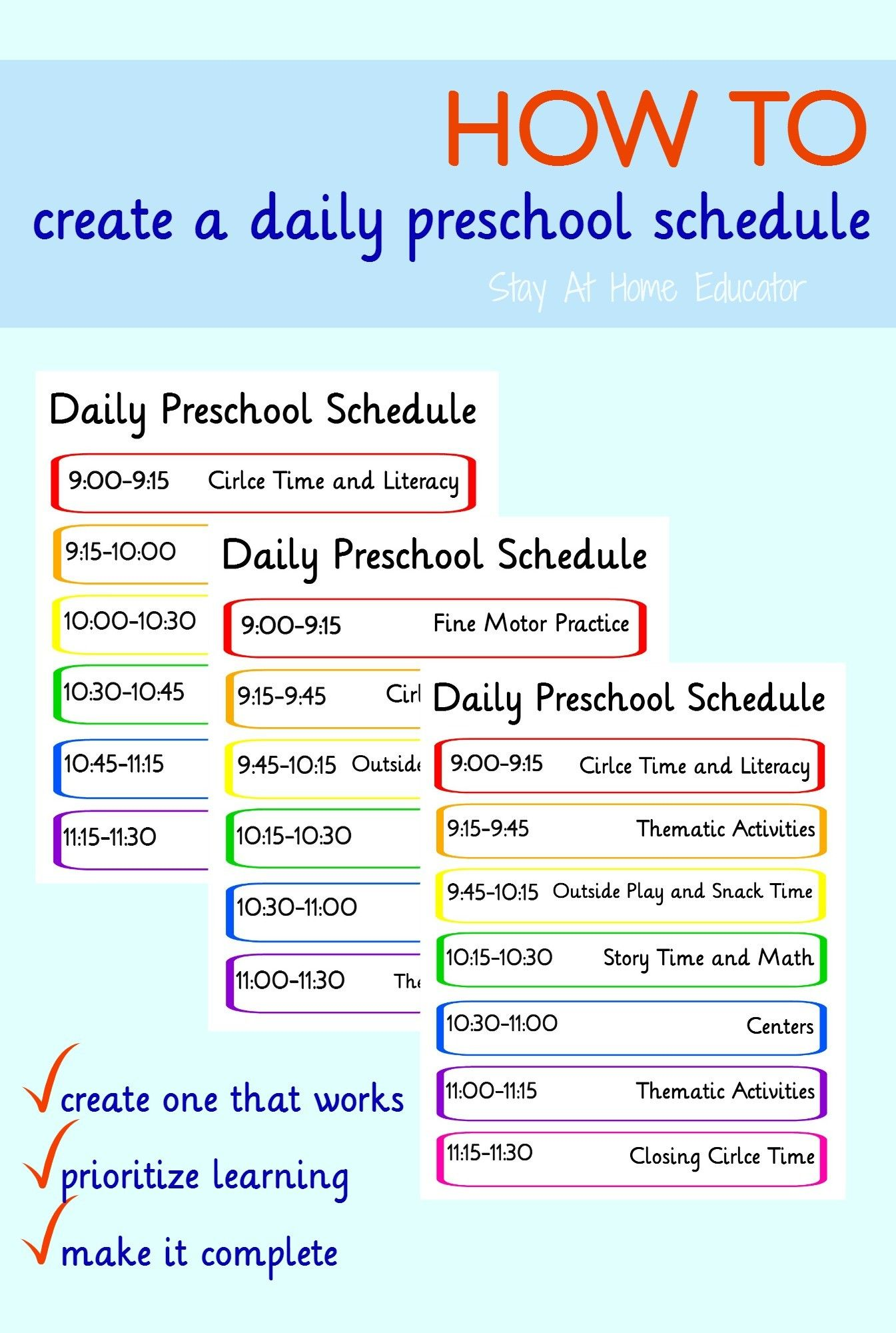 how to create a preschool schedule that works preschool schedule