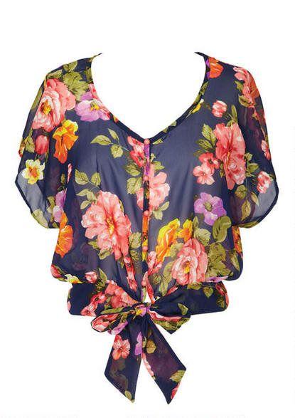 Floral Pop Tie Front Blouse