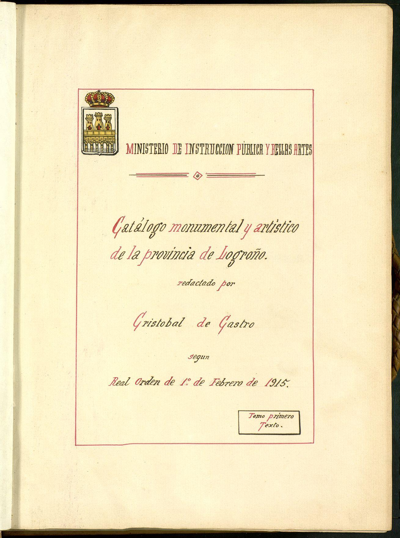 Catálogo monumental y artístico de la provincia de Logroño ...