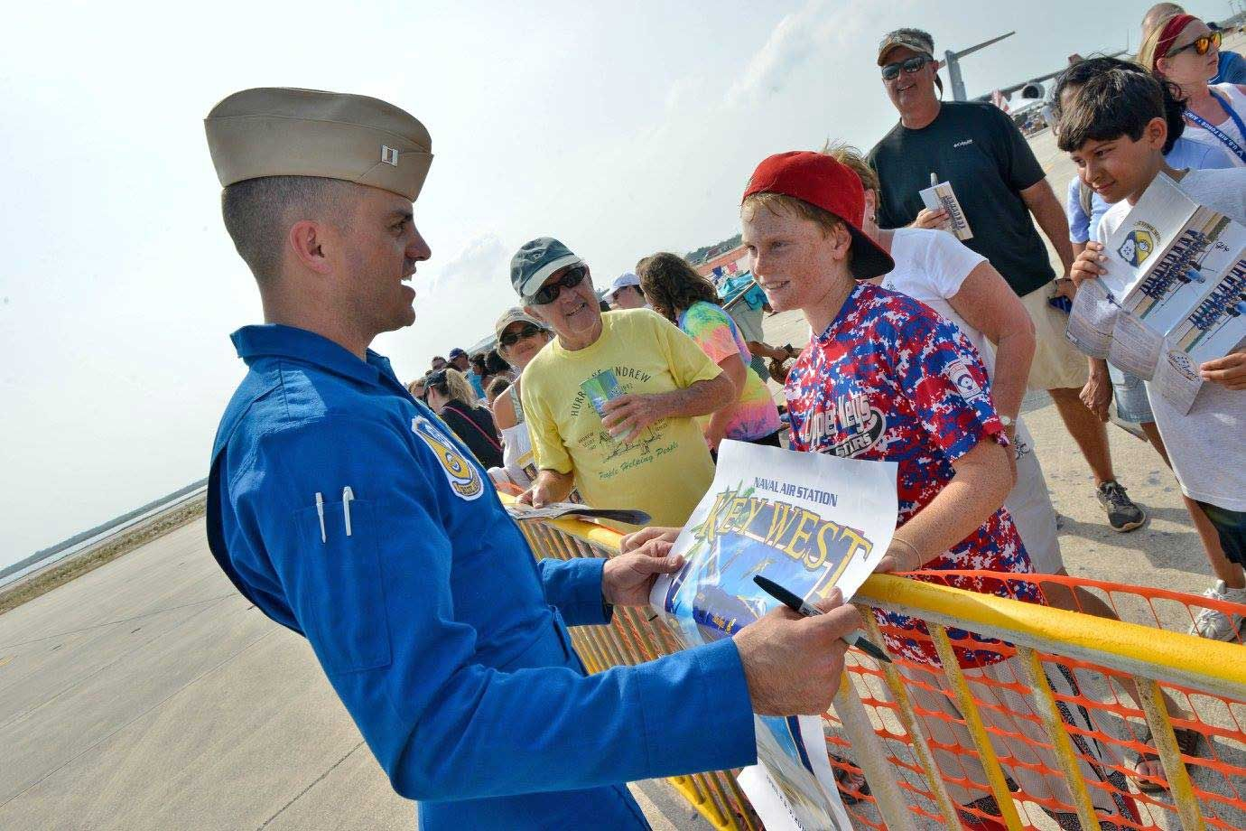 Blue Angels pilot U.S. Marine Capt. Jeff Kuss visits with