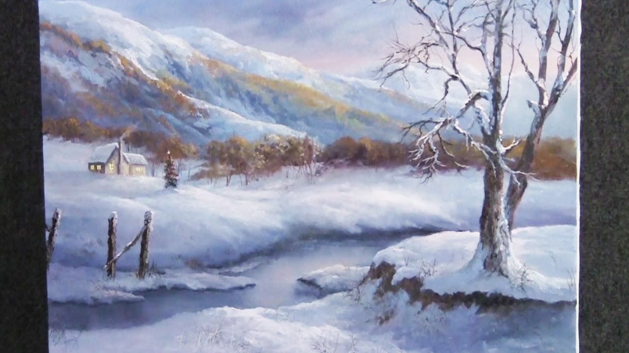 Snow Landscape Painting Acrylic