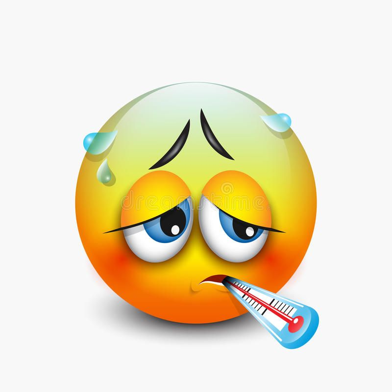 Cute Sick Emoticon With Thermometer Emoji Vector Illustration Stock Vector Illustration Of Patient Illustrat In 2020 Sick Emoji Funny Emoticons Funny Emoji Faces