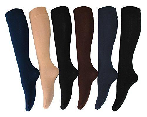 5936e832546 Womens Opaque Plush Fleece Lined Knee High Socks Pack of 6 Multi    For more