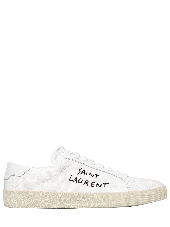 a274ff6a9 SAINT LAURENT COURT CLASSIC COTTON CANVAS SNEAKERS. #saintlaurent #shoes #