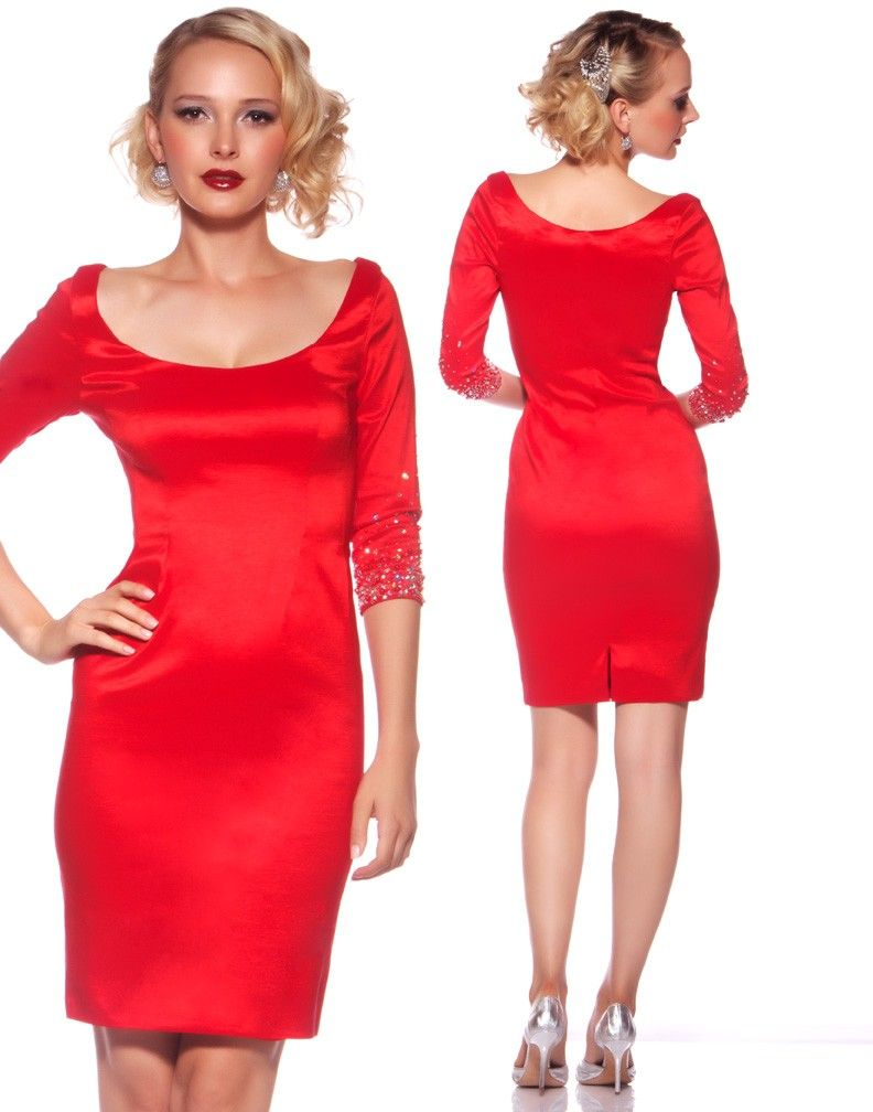 68f9a0862fb Mac Duggal 76171R - Red Three-quarter Sleeve Dress - Holiday Cocktail Dress