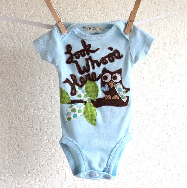 New baby outfit, BOYS Owl , Look Whoo\'s Here personalized shirt ...