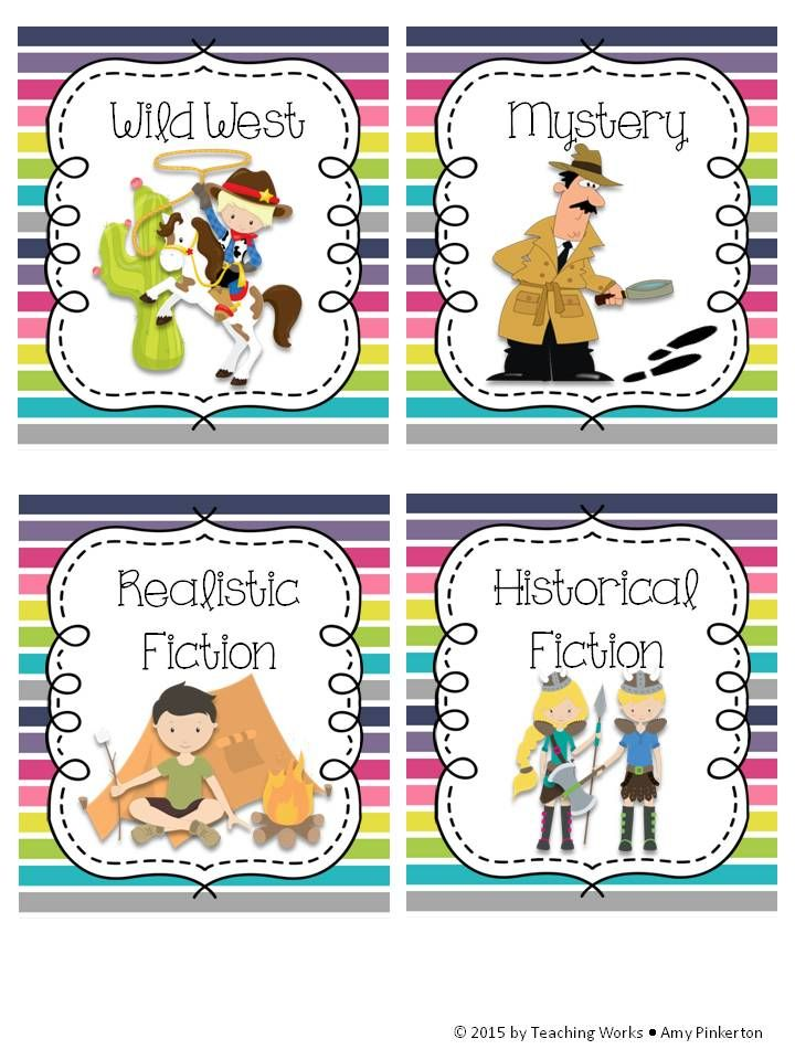 ADORABLE classroom library book basket/bin signs and labels!