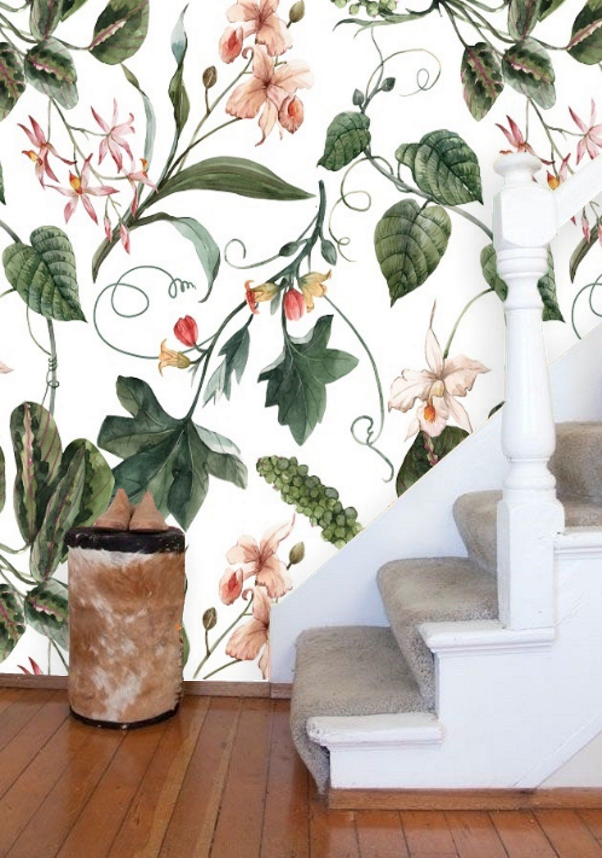 Removable Wallpaper Mural Peel & Stick Flowers Watercolor
