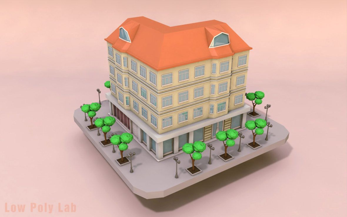 Low Poly City Building Download Free 3d Models Low Poly High