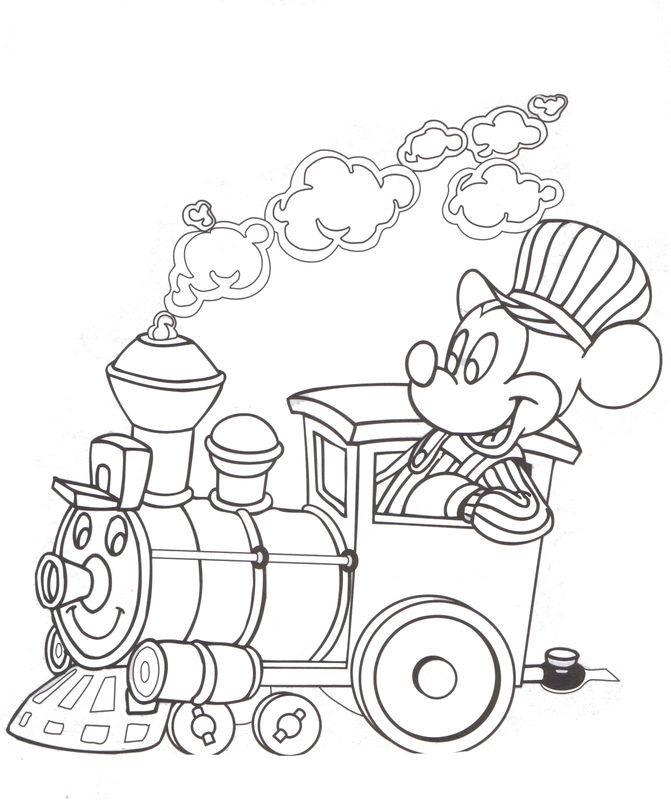 Walt Disney Railroad Mickey Mouse Disney Coloring Pages