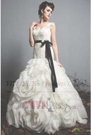 OUR PRICE: $320.69 Trumpet/Mermaid Sweetheart Straps Chapel Train Organza Wedding Dress