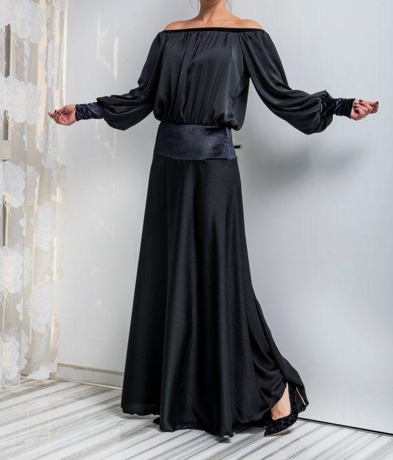 4a0ddcf6ebf Black Maxi Dress  Homecoming dress  Evening by cherryblossomsdress ...