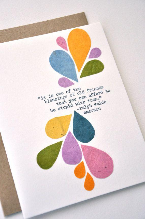 Friendship Card Handmade Greeting Card Blessing Of Old Greeting Cards Handmade Friendship Cards Cards Handmade