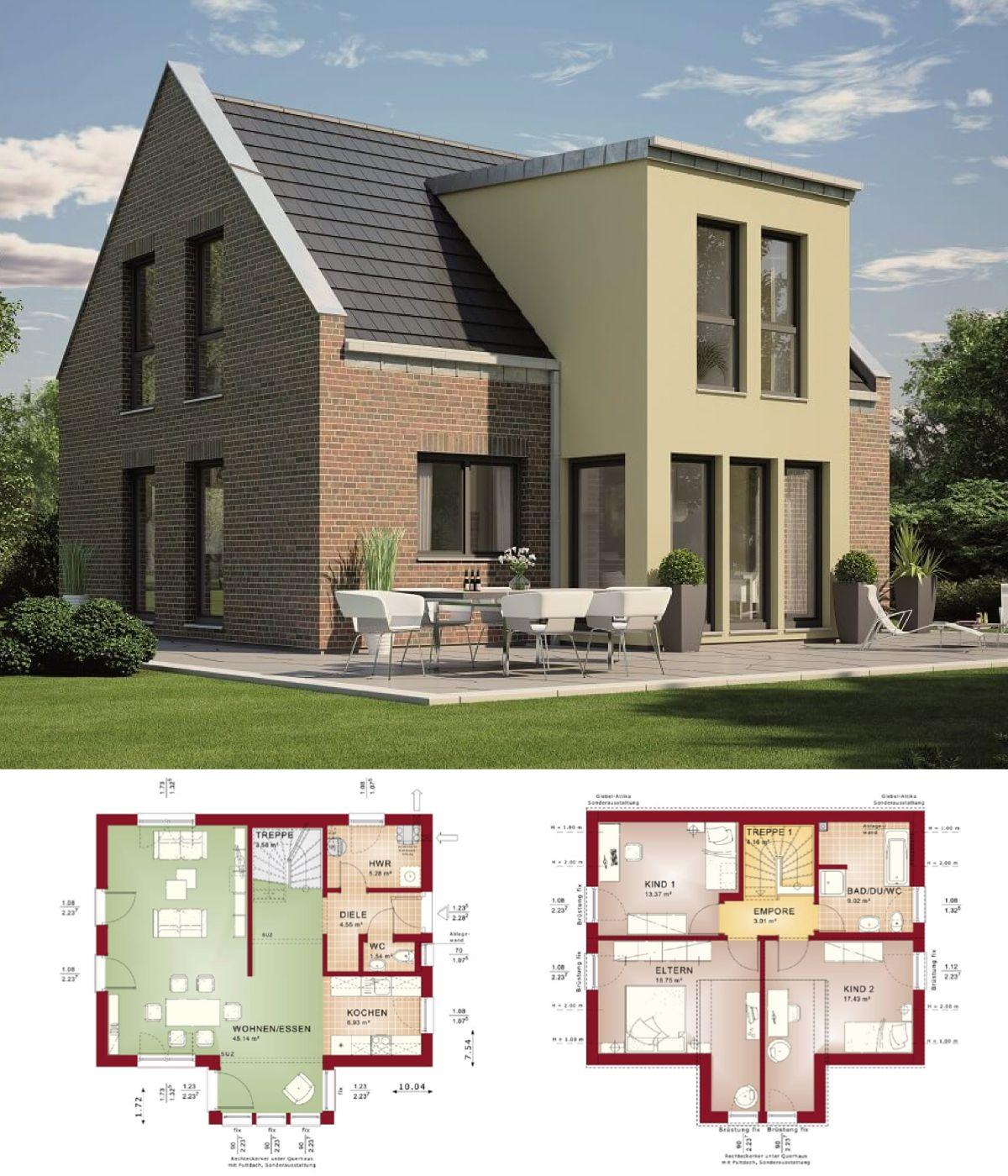 Einfamilienhaus modern mit Klinker Fassade & Satteldach Architektur ...