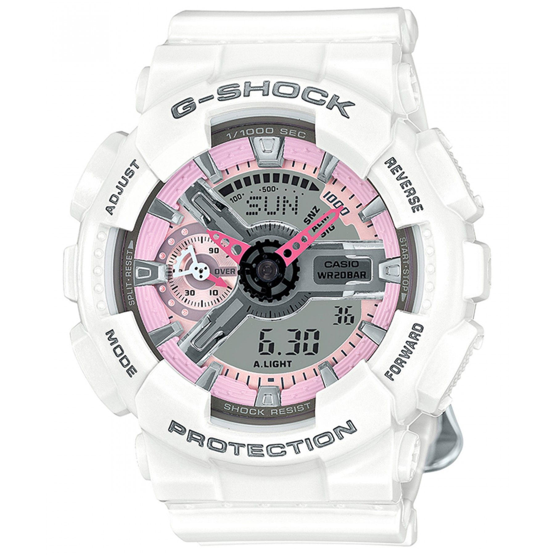 Reloj Casio con caja bisel y extensible tipo brazalete elaborado en resina  color blanco  carátula 7b0ebce26c3