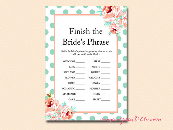 Finish the brides phrase
