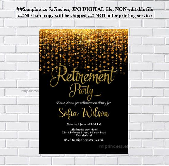 Retirement invitations retirement party invitation retirement retirement invitations retirement party invitation retirement celebration elegant glitter retired or farewell party card 1223 stopboris Choice Image