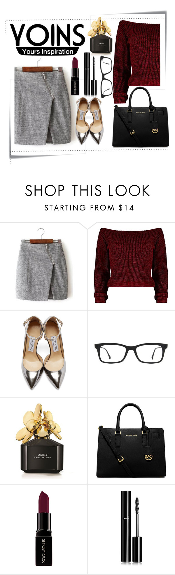 """Red crop sweater"" by helenawayne ❤ liked on Polyvore featuring Post-It, Jimmy Choo, Ray-Ban, Marc Jacobs, MICHAEL Michael Kors, Smashbox, Chanel, women's clothing, women and female"