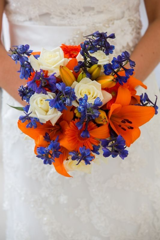 My Bridal Bouquet Blue And Orange For Mets Colors Daisies Lilies Roses Delphinium