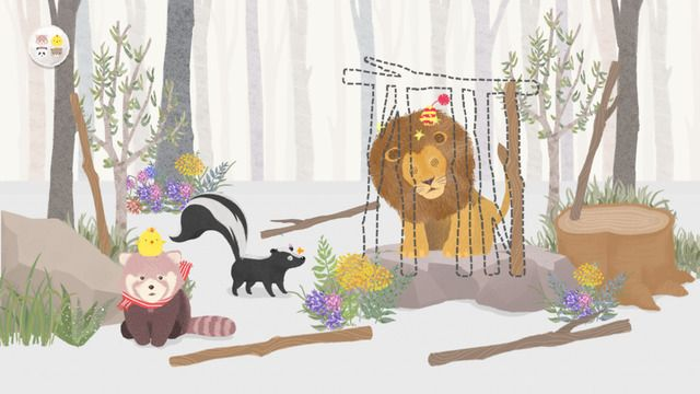 Flap's app, Roo & Pibi's mobile application screen image. Make cage with branches to trap the lion.