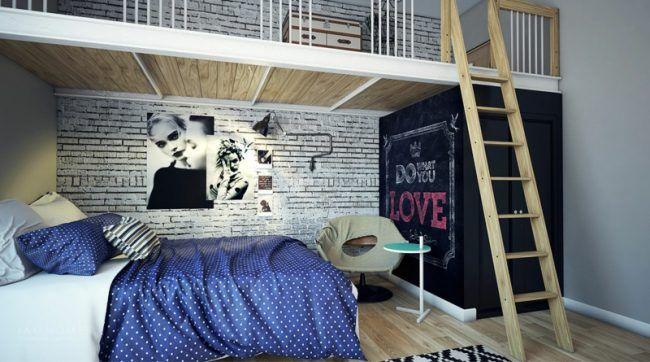 Mädchen Jugendzimmer Modern Street Style Leiter Zwei Ebenen