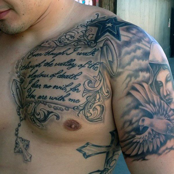 Men Chest And Upper Sleeve With Nice Flowers Tattoo: 50 Bible Verse Tattoos For Men