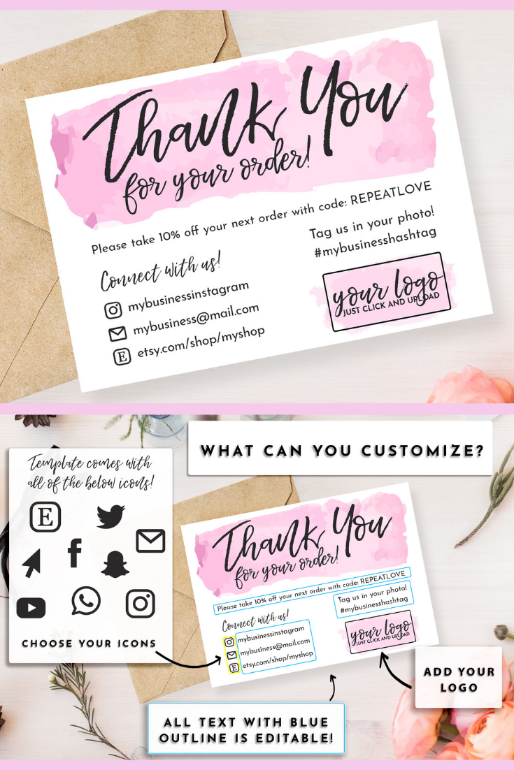 Diy Printable Thank You Card For Your Order Small Business Etsy Small Business Cards Diy Business Cards Printable Thank You Cards