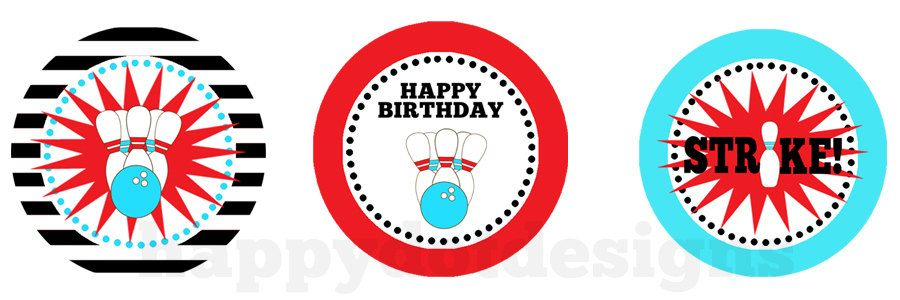 Printable Bowling Birthday Cupcake Toppers