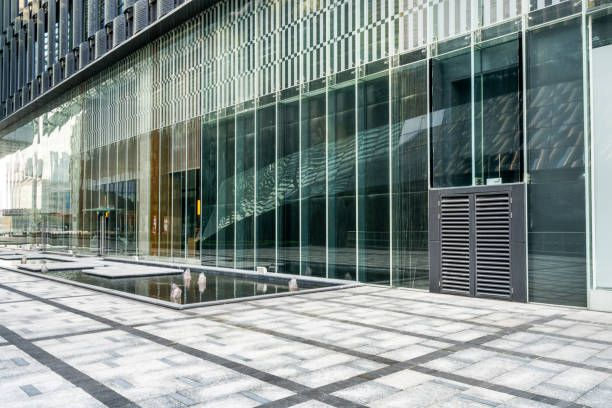 glass wall of modern office building hueputalo Pinterest