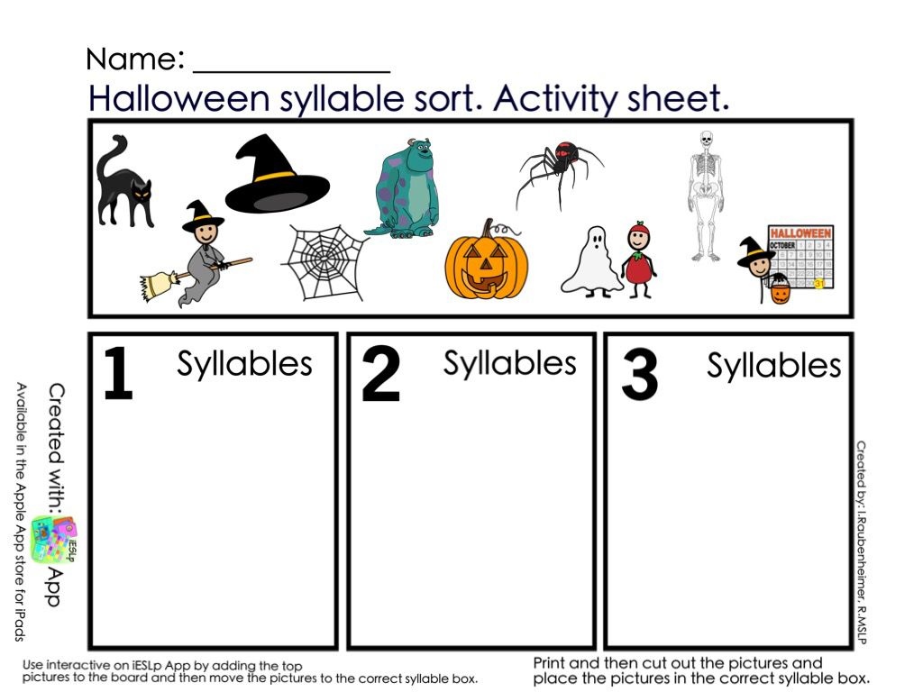 Halloween Syllable Sort Print Copy