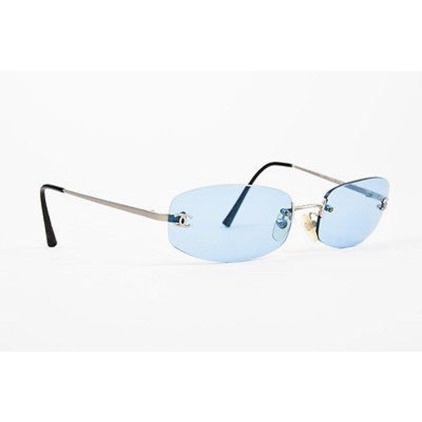 Pre-Owned Chanel Silver Tone Blue Lens Rimless Square