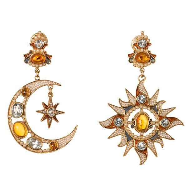 Best Designer Jewelry Sterling Silver Enamel Moon and Star Post Earrings