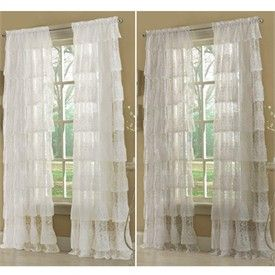 Priscilla Layered Ruffled Lace Curtain Panels