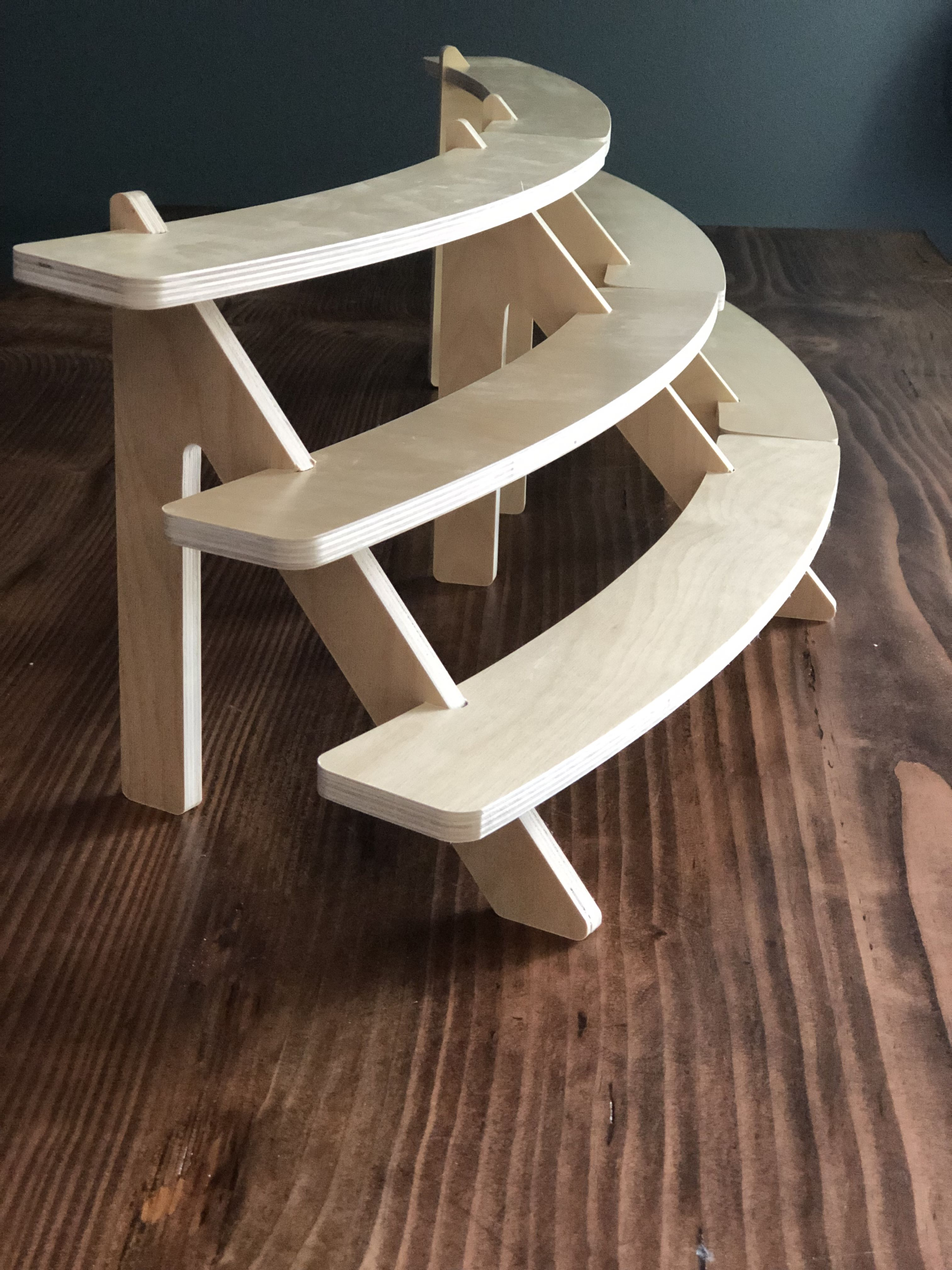 The Belly 3 Tiered Curved Shelf Craft Fair Display Market Etsy Wood Shelves Wood Display Stand Vendor Table