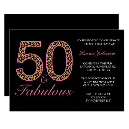 Fabulous 50th Pink Black Leopard Birthday Party Card Leopard - club card design