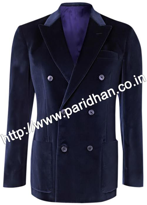 Cocktail party wear double breasted velvet blazer made from navy blue color uncrushable velvet fabric.