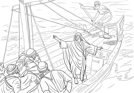 Jesus Calms The Sea Jesus Calms Storm Colouring Pages Coloring