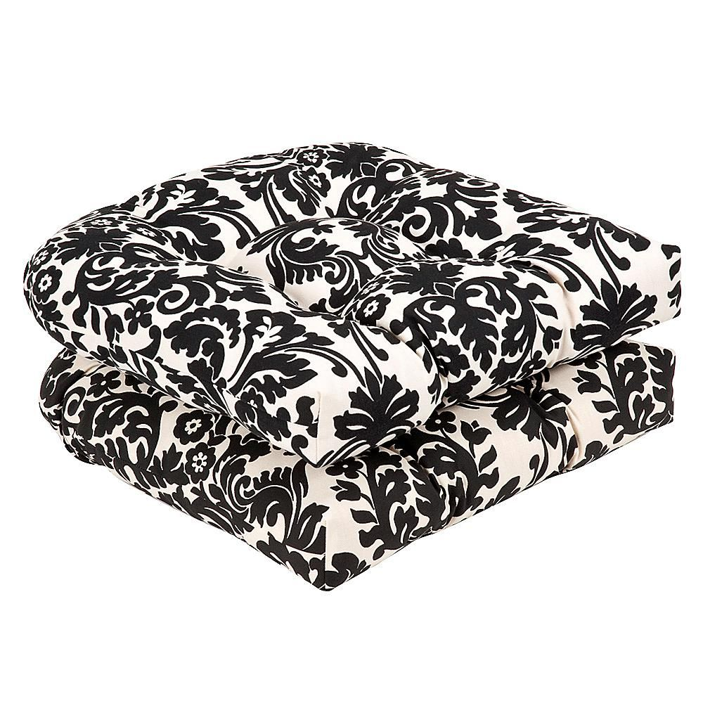 Pillow Perfect Set of 2 Essence Wicker Seat Cushions - Black