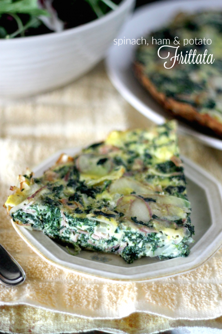 I love all types of breakfast casseroles and quiche's, especially this Spinach, Ham, and Potato Frittata breakfast bake recipe! The melted cheese, spinach and ham combination makes it a winning combo the whole family will love!