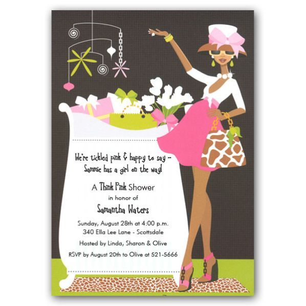 Glamorous Baby Shower Glam Crib African American Invites Paperstyle